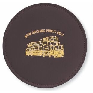 Top Grain Leather Round Coaster w/ Stitching & Vinyl Base (Domestic)